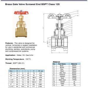 [1]Brass Gate Valve Class 125 SE BSPT