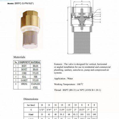 [1]Brass Spring Check Foot Valve SE (Filter)