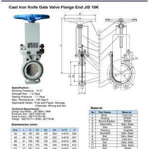 [1]Cast Iron Knife Gate Valve JIS10K FE