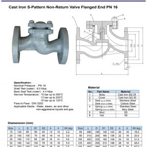 [1]Cast Iron S-pattern Check Valve PN16 FE