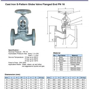 [1]Cast Iron S-pattern Globe Valve Pn16 FE