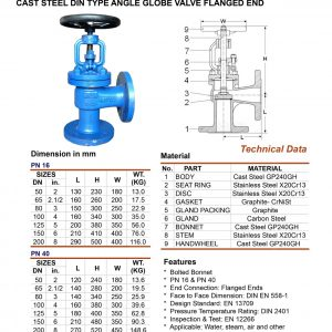 [1]Cast Steel DIN Type Angle Globe Vlv PN16,40