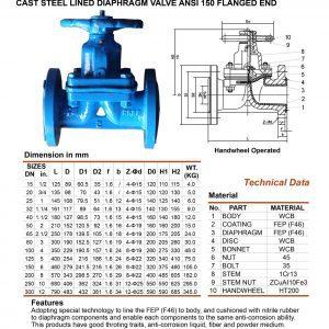 [1]Cast Steel Lined Diaphragm Valve ANSI 150 FE