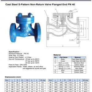 [1]Cast Steel S-pattern Check Valve PN40 FE