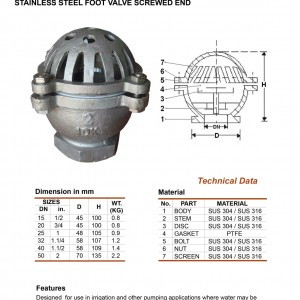 Stainless Steel Foot Valve