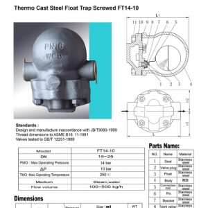[1]Thermo Cast Steel Float Trap Screwed (FT14-10)