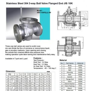 [1]SS 3 WAY Ball Valve JIS10K FE