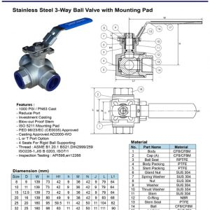 [1]SS 3 WAY Ball Valve with Mounting Pad BSPT